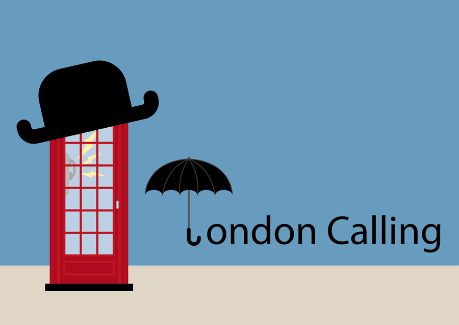 Stylish London Phone Booth with umbrella text snd bowler hat