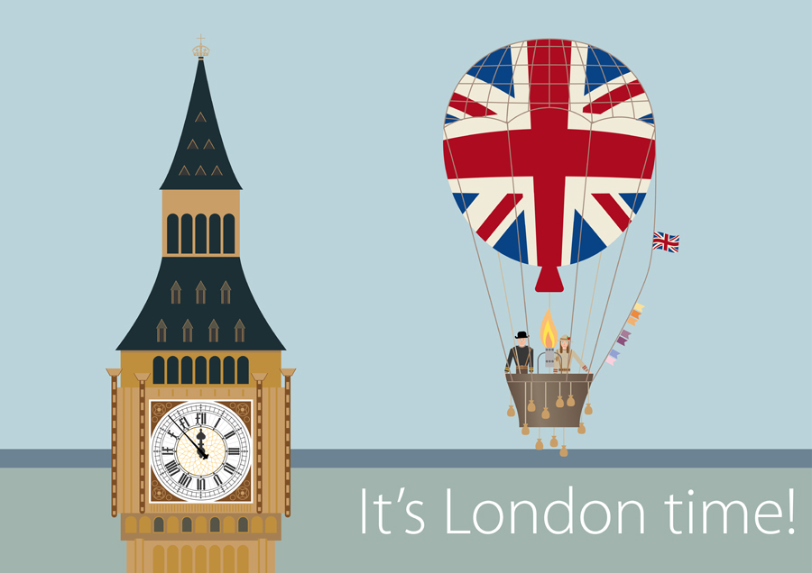 London lanmark with hot air balloon and flags