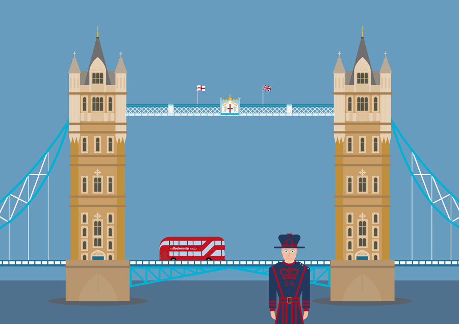Tower Bridge in London with bus and guard