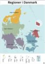 5 regioner danmarkskort redigerbart