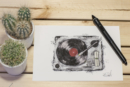 Turntable retro look artprint