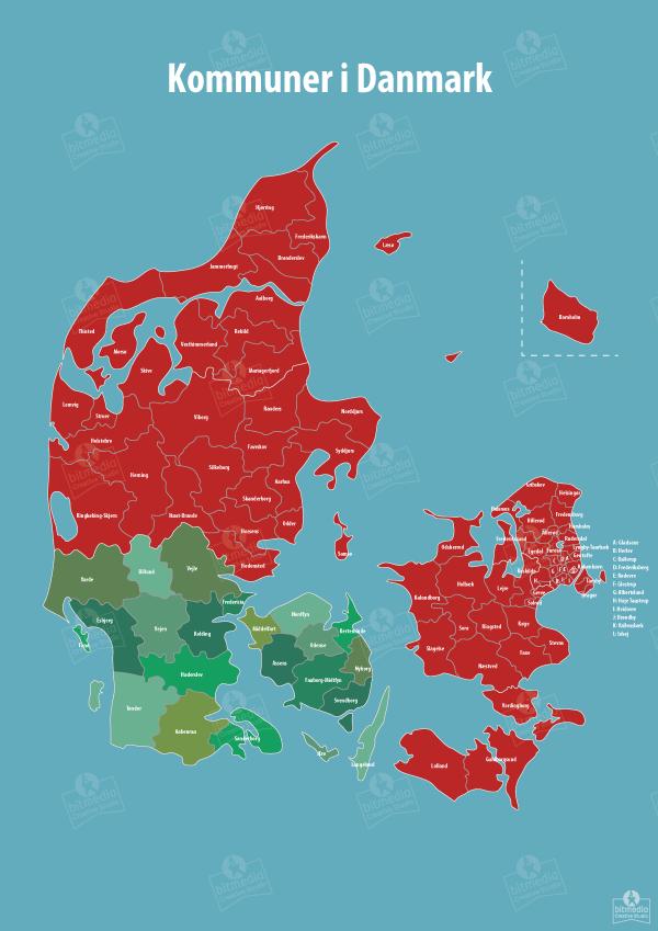 Kommune og Regionskort Danmark Illustrator version - Bitmedia