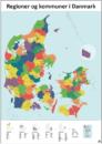 regioner og kommuner i farver redigerbart kort