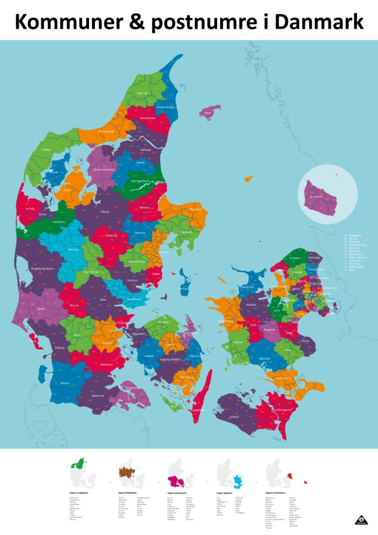 Redigerbart Danmarkskort med postnumre, kommuner og regioner - Bitmedia