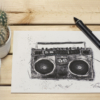 Boombox retro look artprint