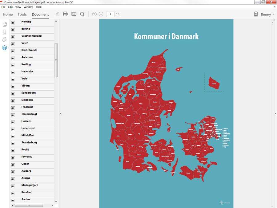 Regioner og kommuner i Danmark PDF kort - Bitmedia