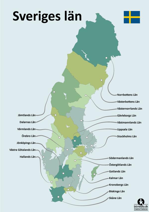 Redigerbar Karta Sverige.Lan I Sverige Redigerbart Adobe Illustrator Kort Bitmedia