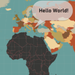 World Map with borders in vector format