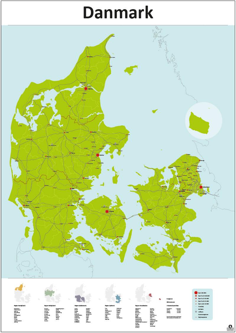 Danmarks Regioner Og Kommuner Kort Detaljeret Bitmedia