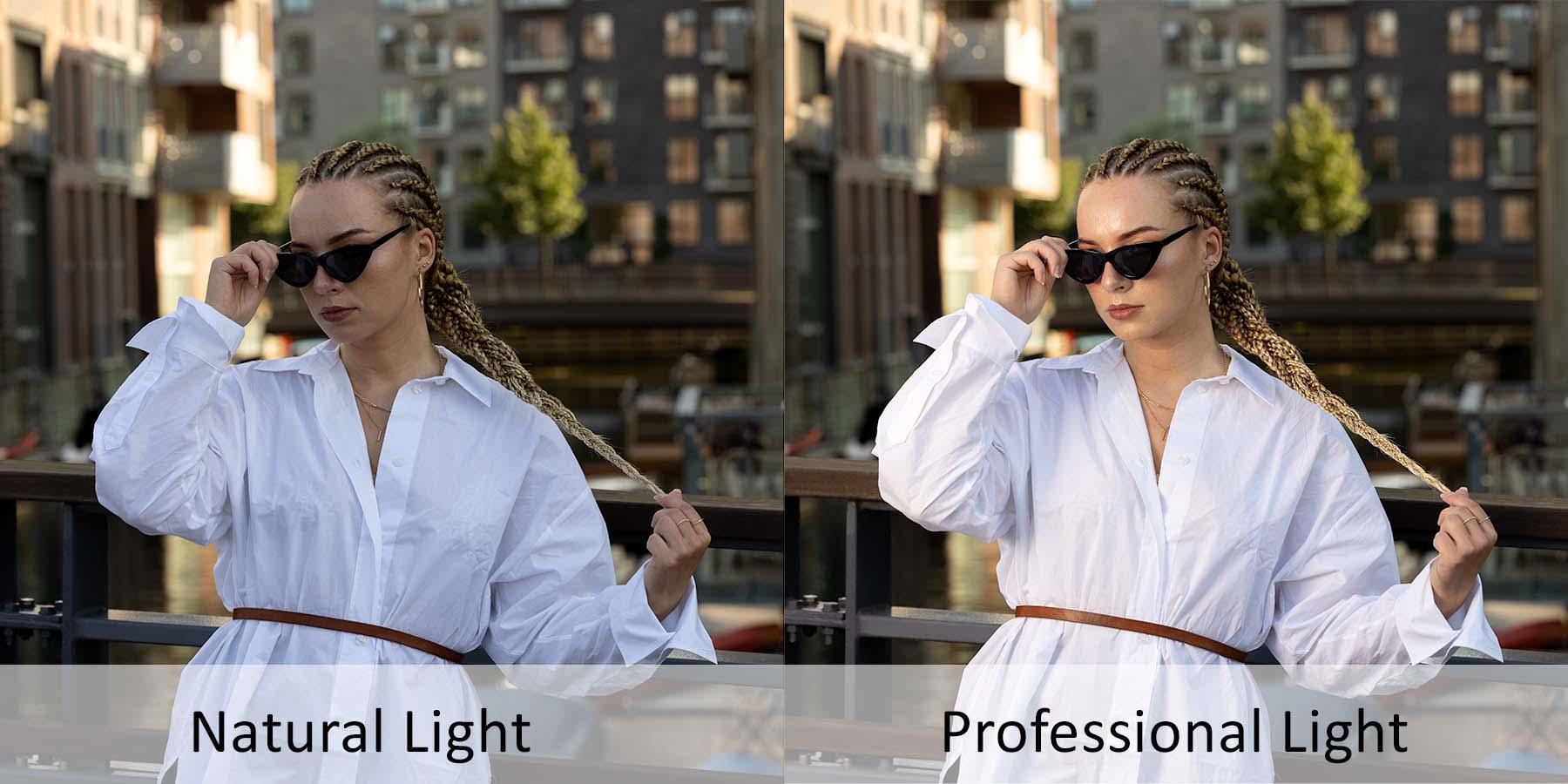Natural light versus professionel light